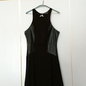 Black dress with faux leather